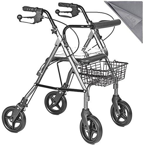Leichtgewicht-Rollator - Funktionelle und sichere Gehhilfe aus Aluminium┇Mit abnehmbarem Korb und Tablett • Serienmäßige Rückenstütze mit Moosgummipolsterung┇Inkl. medipuls Microfasertuch