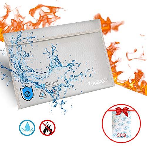 Feuerfeste Dokumententasche,Feuersichere wasserdichte Tasche Hülle Beutel Behälter für A4 Dokumente Bankdatei Geld Passport aus Silikon beschichtetes Fiberglas mit Silikagel 30g (40 x 28cm)