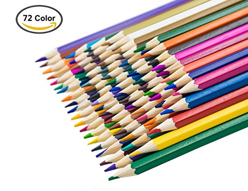 MODA 72 * Crayons de Couleur d'huile Crayons de Dessin Enfant, Multicolore Parfait pour Les Livres de Coloriage Adulte - 72 couleurs