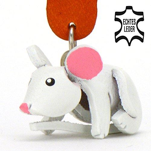 Maus Mickey - Schlüsselanhänger Figur aus Leder in der Kategorie Kuscheltier / Stofftier / Plüschtier von Monkimau in rosa - Dein bester Freund. Immer dabei! - 5x2x4cm LxBxH klein, jeweils (Kostüme Maus Cinderella)