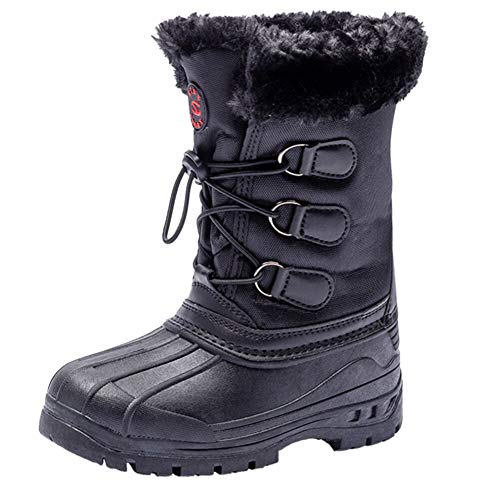 UBFEN Kids Winter Boots Boys Girls Snow Boots Breathable Kids Walking Boots Fur Lined Boots