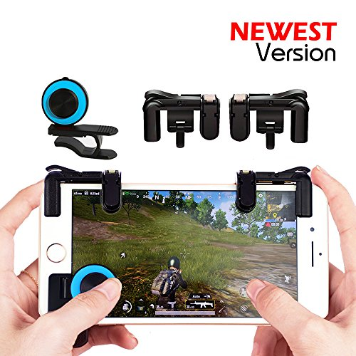 Price comparison product image Mobile Game Controller Sensitive Shoot and Aim Keys Button L1R1 Shooter Controller for PUBG / Knives Out / Rules of Survival / Fortnite Cellphone Analog Joystick Latest Upgraded Version (1Pair + joystick)