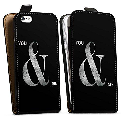 Apple iPhone X Silikon Hülle Case Schutzhülle You & Me Freundschaft Spruch Downflip Tasche schwarz