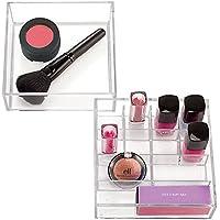 Organizzatore cosmetici mDesign per armadietto trucchi per tenere trucco, prodotti di bellezza (2 pezzi) - Trasparente