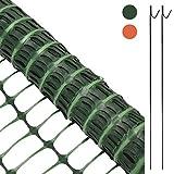 Woodside - Kunststoff-Hühnerzaun - Maschengewebe mit 10 Metallspießen - 1 x 25 m - Grün