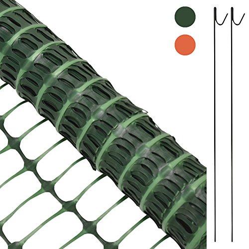 #Woodside – Kunststoff-Hühnerzaun – Maschengewebe mit 10 Metallspießen – 1 x 25 m – Grün#