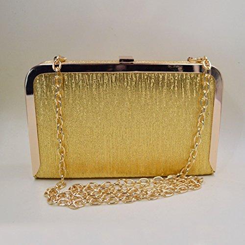Milya elegante Abendtasche Clutch mit zusätzlichen Ketten Damen Portemonnaie Lang Portmonee Umhängetasche Motorrad-Tasche Kleine Tasche Gold