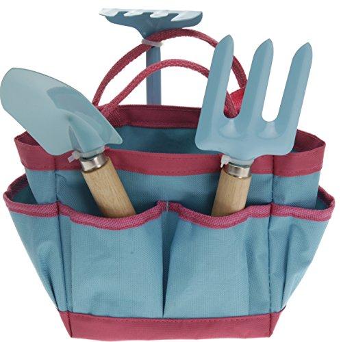 Kinder Gartengeräte Mini Gartenwerkzeuge Set 4 teilig, Kinderschaufel, Kinderrechen, Harke und praktische Tasche Farbe: blau
