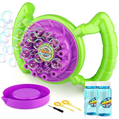 Baztoy Bubble Machine, Seifenblasen Spielzeug für Kinder Junge Mädchen Seifenblasenmaschine Set mit 2 Flaschen von Flüssigkeit Bubble Maker Cool Sommer Spiel Geschenk für Outdoor Garten Party Hochzeit -