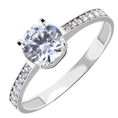 Gioro, anello di fidanzamento pia in oro bianco 585 con cristalli swarovski, oro bianco, 11, cod. 00403
