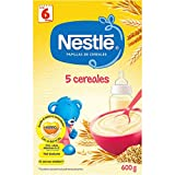 NESTLÉ Papilla 5 cereales - Alimento para Bebés - Paquete de 6 x 600 g - Total: 3.6 kg