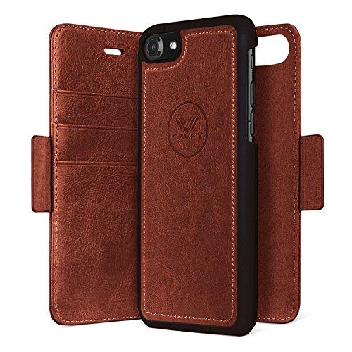 Custodia iPhone 7, SAVFY 2 in 1 Flip Magnetica Custodia in pelle Protettiva Case Portafoglio Cover Supporto Stand con Porta Carte e PC Cover per iPhone 7 4.7 pollice - Blu Marrone