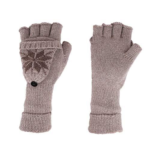JINTN Niedlich Eisblume Halbfinger Handschuhe mit Fäustlinge Klappe Fingerlose Strick-Handschuhe thermohandschuhe für Damen und Mädchen