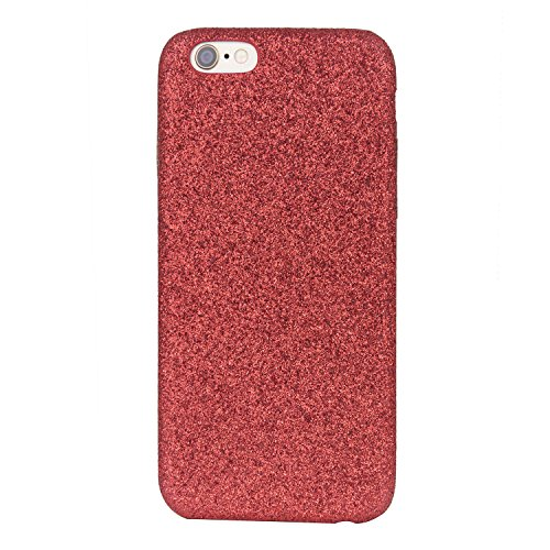 Glitzer Hülle für iPhone 6 6S Plus - Forepin® Bling Bling Handy-Hülle Glanz Sparkle PC Bumper Case Cover Rückseite Hülle Etui für iPhone 6 6S Plus 5.5 Zoll, Rot Rot