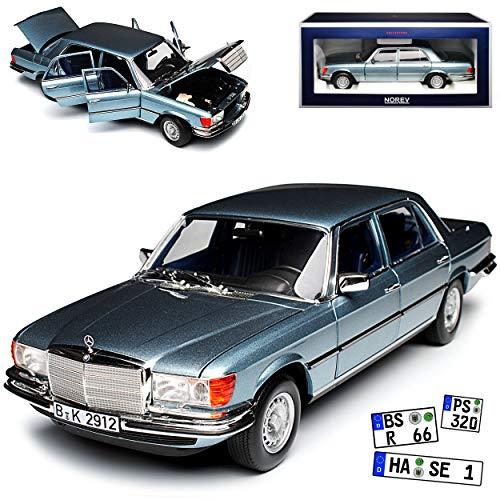 Norev Mercedes-Benz S-Klasse W116 450 SEL 6.9 1976 Blau Grau Metallic 1972-1980 1/18 Modell Auto mit individiuellem Wunschkennzeichen