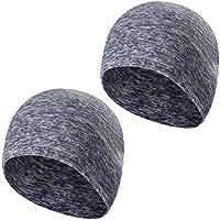 Tagvo Gorro de lana de invierno, running Beanie Hat gorro con tapas de orejas, forro para casco para adultos mujeres y hombres tamaño elástico universal (Gris-2 paquete)