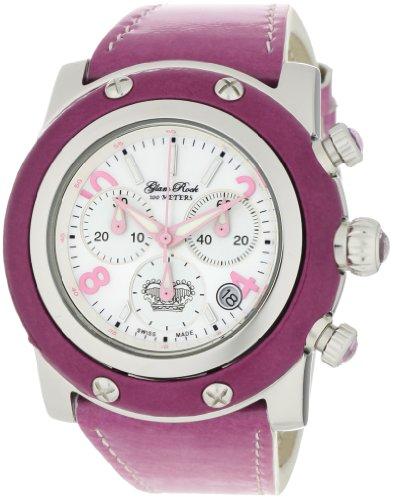 Glam Rock GR10148 - Reloj cronógrafo de cuarzo para mujer con correa de piel, color morado