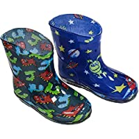 Soft Touch Blue/Navy Blue Baby rain/Wellington Boots. Choice of Crocodile Or Aliens. Available to fit Ages 15-24 Months (Euro 19-21)