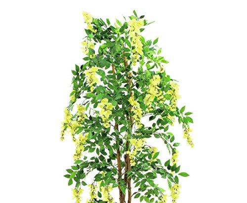 Goldregenbaum Kunstbaum, 1512 gelben Blüten, 2160 textile Blätter, mit Zementtopf, Höhe 240cm, – künstliche Bäume Blütenbäume