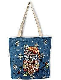 9456d0e54a079 Eule Eulen Tasche Shopper Strandtasche mit Reißverschluss    BLAU mit süßem  EULENMOTIV   …