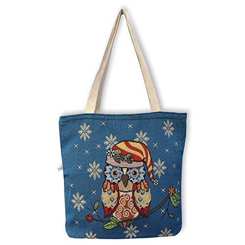Eule Eulen Tasche Shopper Strandtasche mit Reißverschluss ***verschiedene Motive erhältlich*** Eulenmotiv Shopping bag Umhängetasche Beuteltasche - VINTAGE LOOK / absolut cool und stylish - 42321