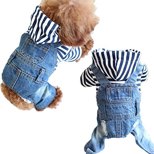 Meijunter 2017 Spring Summer Cute Striped Cap Pet Dog Cat Puppy Jeans Clothes Apparel (Size:XL)