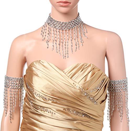 Coucoland 1920s Halskette Armband Acessoires Set Damen Exotisch Cleopatra Kostüm Zubehör Set Accessoires 20er Jahre Bauchtanz Blinkendes Kette Armband Fasching Kostüm Accessoires (Silber) (Silber Bauchtanz Kostüm)
