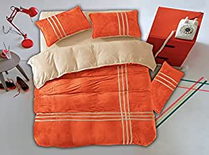 155x200 creme orange Winter Wende-Bettwäsche Flanell 4tlg Bettwäscheset Bettbezüge Bettwäschegarnituren weich cream orange GDS 4
