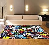XMMGCDT Teppich Wohnzimmer Textilmatte des Abstrakten Teppichschlafzimmers Bunte Für Küchenboden Mattendecke des Wohnzimmerteppichs 3Dzuhause Dekoration,100 * 160Cm