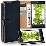 moex Sony Xperia C4 | Hülle Schwarz mit Karten-Fach 360° Book Klapp-Hülle Handytasche Kunst-Leder Handyhülle für Sony Xperia C4/C4 Dual Case Flip Cover Schutzhülle Tasche