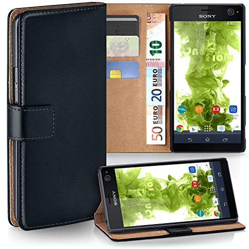 moex Sony Xperia C4   Hülle Schwarz mit Karten-Fach 360° Book Klapp-Hülle Handytasche Kunst-Leder Handyhülle für Sony Xperia C4/C4 Dual Case Flip Cover Schutzhülle Tasche