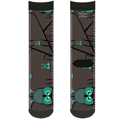 Buckle Down Unisex-Erwachsene Socken Eulen im Bäume, Türkis Crew, mehrfarbig -