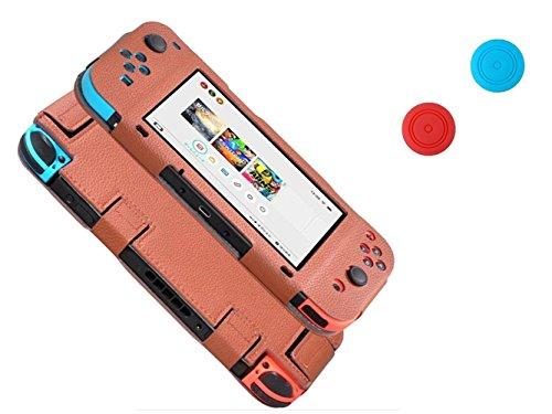 Nintendo Switch Joy-Con Controller Leder Anti-Kratzer Cover Skins Schutzhülle + 2 Thumb Griffe (Braun)