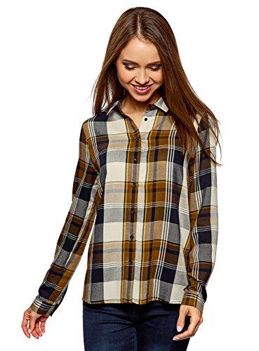 oodji Ultra Mujer Blusa Estampada de Viscosa, Marrón, ES 42 / L