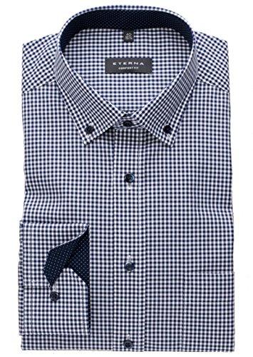 ETERNA Langarm Hemd COMFORT FIT Popeline kariert W47 Langarm marine/weiss (Anzug Button-down-hemd,)