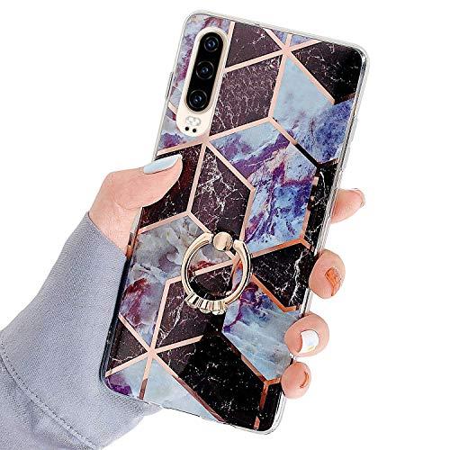 Herbests Kompatibel mit Huawei P30 Hülle Bunt Marmor Muster TPU Silikon Handyhülle Glänzend Bling Glitzer Diamant Strass Ring Halter Ständer Crystal Case Tasche Schutzhülle,Braun