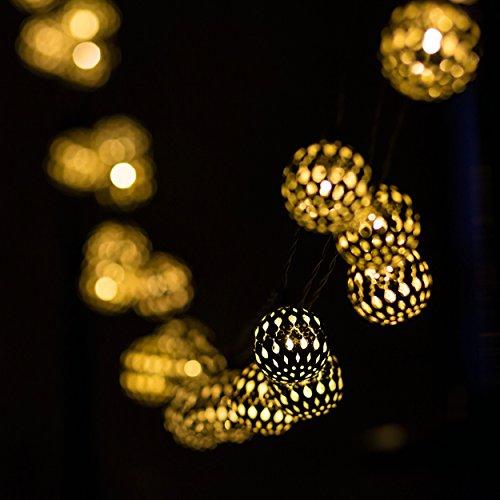 H&D Youngsun® 30er LED Solar Lichterkette Marokko-Ball 6,35 Meter Außen Innen Warmweiß Beleuchtung (Silber Marokko-Ball)