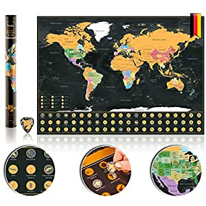 Bereko Scratch Map - Rubbelweltkarte zum Aufhängen für Reiselustige - Weltkarte Wand - Deutsch inkl. Rubbel-Chip zum Freirubbeln der Länder - XXL-Schwarz/Gold
