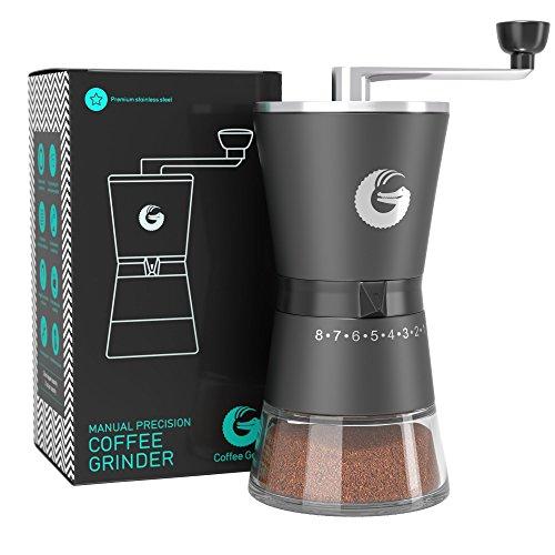 Coffee Gator Präzision Kaffeemühle - Premium manuelle Handkaffeemühle aus Edelstahl (Holz Hand-kaffeemühle)