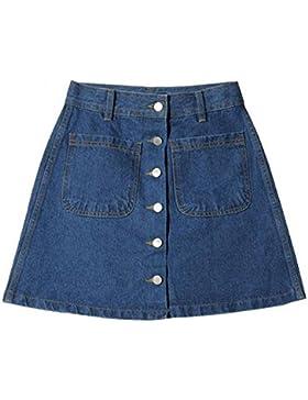 Cintura Alta Falda Mujeres Moda Color Puro Una Línea Denim Skirt Verano Casual Faldas de Mezclilla Tallas Grandes