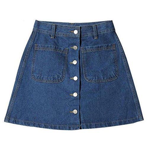 Damen Denim Röcke - Mode Hoch Taillierte Knöpfe Slim Fit A-Linie Minirock Sommer Frühling Casual Bleistiftröcke Streetwear Plus Größen Blau -