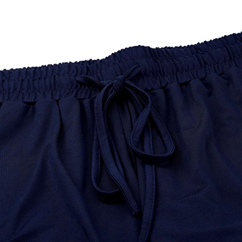 Shorts Femme Longra Femmes Vacances d'été Maillot Femme Pantalons Chauds Pantalons de Plage Bleu
