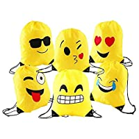 Comius Emoji Drawstring Bags, 6 Pack Kids Emoji Bags Backpacks, Reusable Polyester Party Bags for Girls Boys Adults Birthday Party Gifts Filler Bags