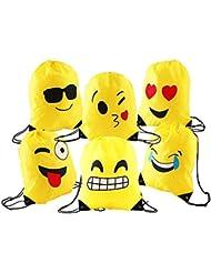 Comius Emoji Bolsas de Cuerdas, 6 Pack Mochilas Petate Emoticonos, Emoji Cordón Mochila Bolsas