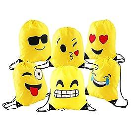 Comius Emoji Borse Sacca, 6 Pezzi Emoji Zaino con Coulisse Sacchetto del PE per Bambini, Festa di Compleanno, Natale