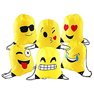51fr124pQYL. SS300  - Comius Emoji Bolsas de Cuerdas, 6 Pack Mochilas Petate Emoticonos, Emoji Cordón Mochila Bolsas Regalo Cumpleaños Deporte Gimnasio Backpack