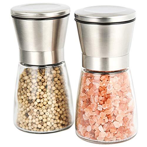 XWSH 2 Stücke/Charge von Haushaltsdreh Salz und Pfefferpulver, Edelstahlmühle Bausatz mit Bereitschafts Salz und Pfeffer kann, Dicke einstellbar
