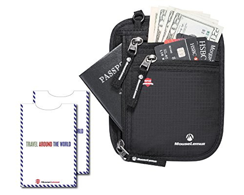 Reisebrieftasche - Mousemelur Travel Halsbörse mit RFID-Blocking Sleeves & Geld-Clip, Secure Hidden Passport Holder (Reise-geld-clip)