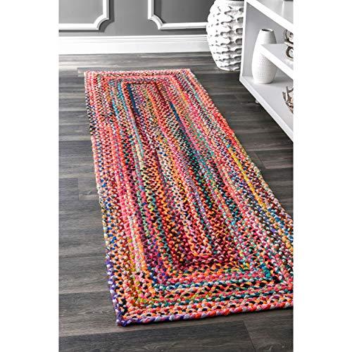 nuLOOM Teppich, oval, 305o, Geflochten, aus Baumwolle, Baumwolle, Multi, 2' 6