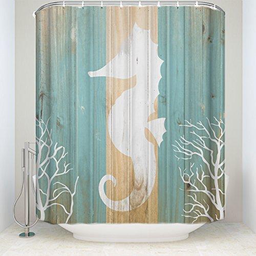 Prime Leader Ocean Vorhang für die Dusche, Vintage Seashell Seestern Nature Illustration, Stoff Badezimmer Decor Set mit Haken Art Deco 72